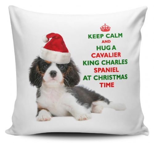 Christmas Keep Calm And Hug A Cavalier King Charles Spaniel (Tricolour) Novelty Cushion Cover